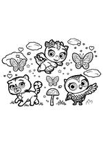 Раскраска - Маленькие волшебницы - Сэвен, Флэр и Требл