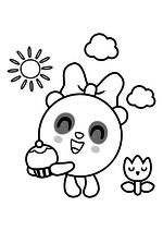 Раскраска - Малышарики - Пандочка с пирожным