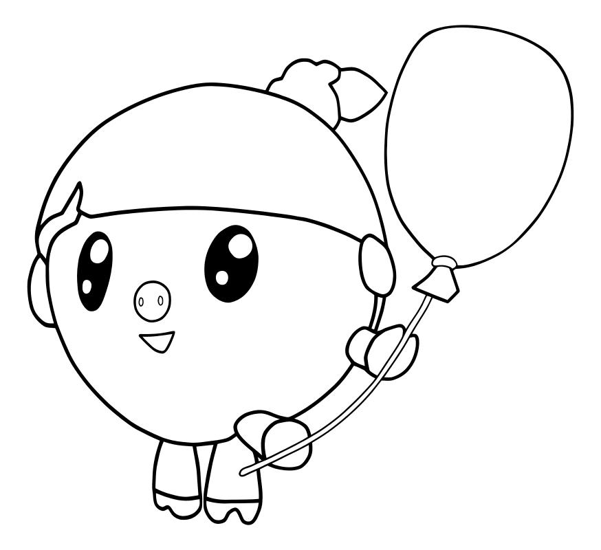 Раскраска - Малышарики - Нюшенька с воздушным шариком ...