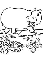 Раскраска - Мама для мамонтёнка - Бегемотиха идёт за слонихой