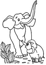 Раскраска - Мама для мамонтёнка - Мамонтёнок нашёл маму