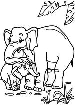 Раскраска - Мама для мамонтёнка - Слониха гладит Мамонтёнка