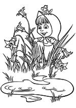 Раскраска - Маша и Медведь - Маша нашла озерцо
