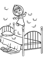 Раскраска - Маша и Медведь - Маша прыгает на кровати