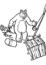 Раскраска - Маша и Медведь - Медведь вернулся с рыбалки