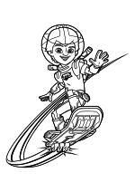 Раскраска - Майлз с другой планеты - Майлз Каллисто на бластборде
