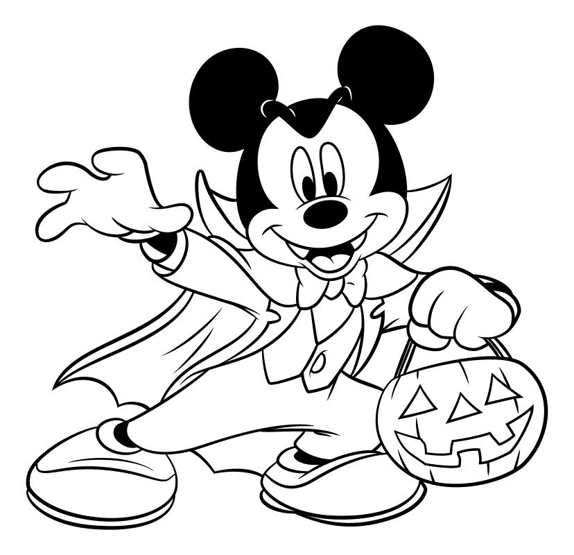 Раскраска - Микки Маус и друзья - Микки Маус вампир - Хэллоуин