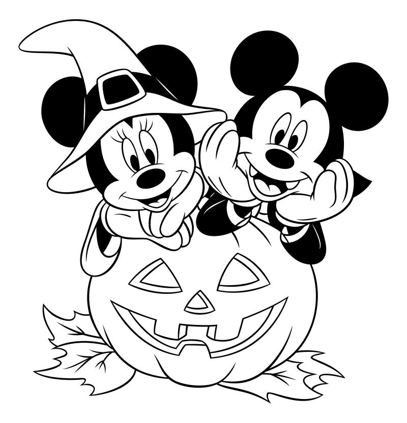 Раскраска - Микки Маус и друзья - Микки и Минни празднуют Хэллоуин
