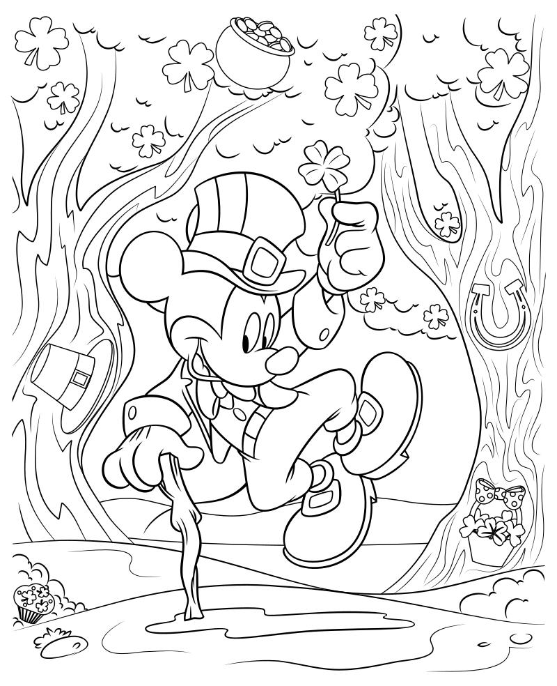 Раскраска - Микки Маус и друзья - Микки Маус на День святого Патрика