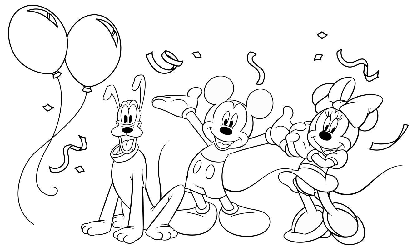 Раскраска - Микки Маус и друзья - Плуто, Микки и Минни встречают Новый год