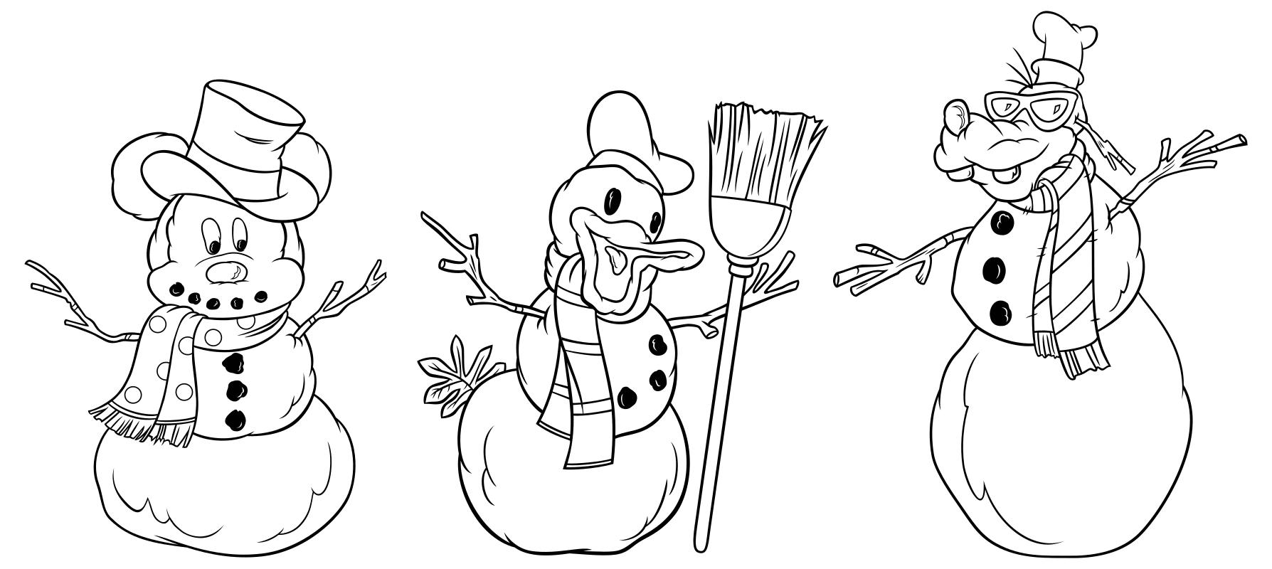 Раскраска - Микки Маус и друзья - Снеговики - Микки, Дональд и Плуто