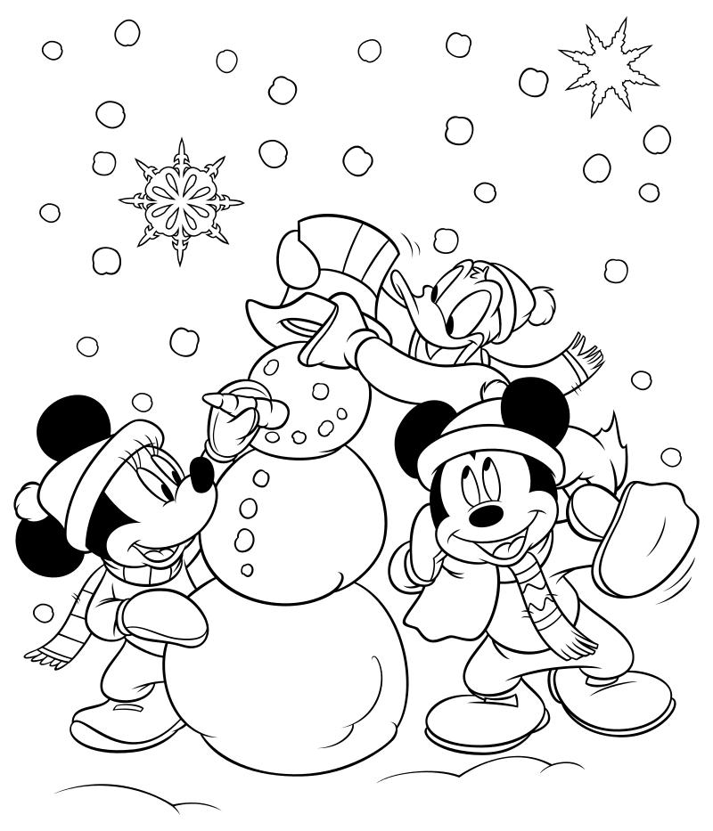 Раскраска - Микки Маус и друзья - Микки и его друзья слепили снеговика