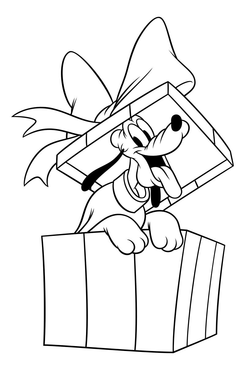Раскраска - Микки Маус и друзья - Рождественский пакет с Плуто