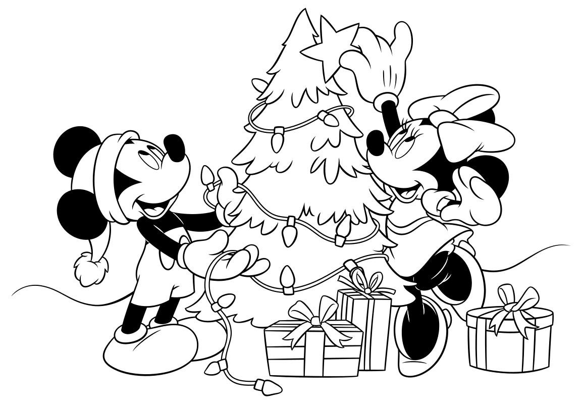 Раскраска - Микки Маус и друзья - Микки и Минни наряжают ёлку