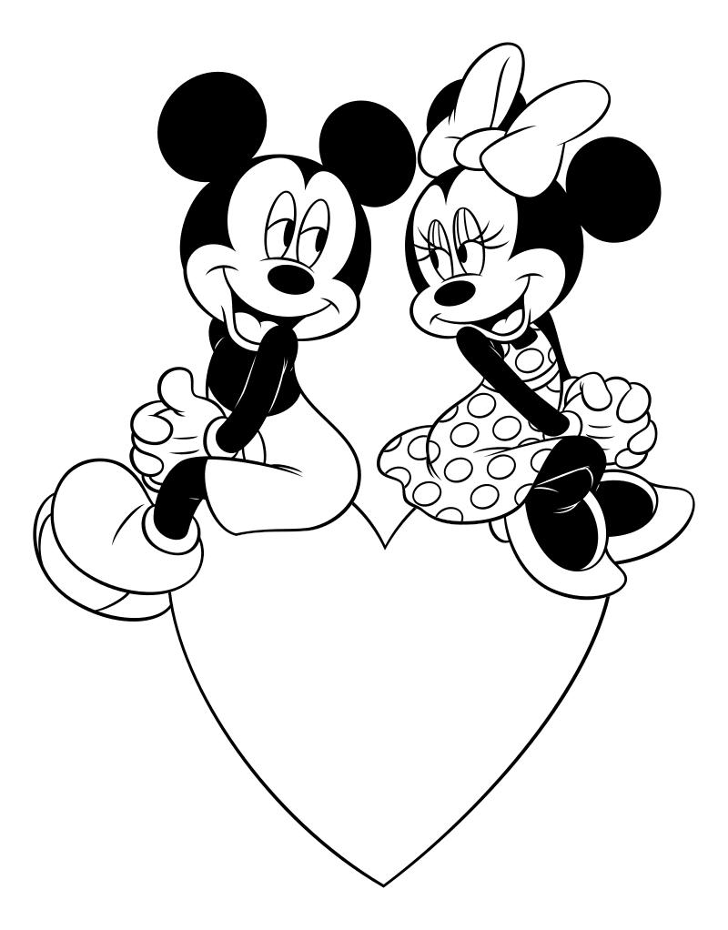Раскраска - Микки Маус и друзья - Микки и Минни на День святого Валентина