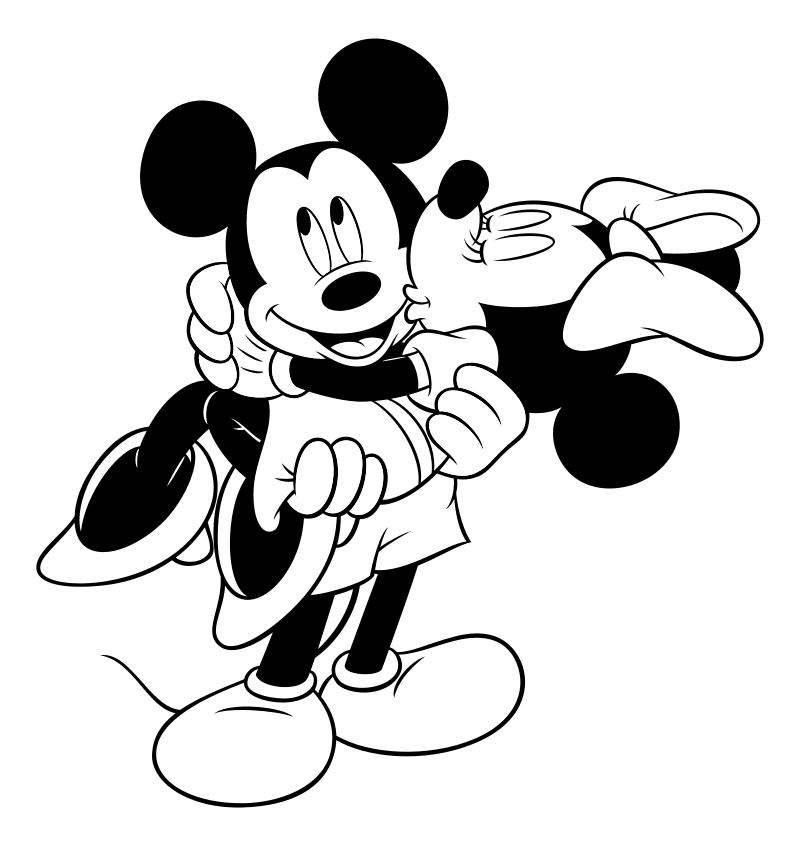 Раскраска - Микки Маус и друзья - Минни целует Микки