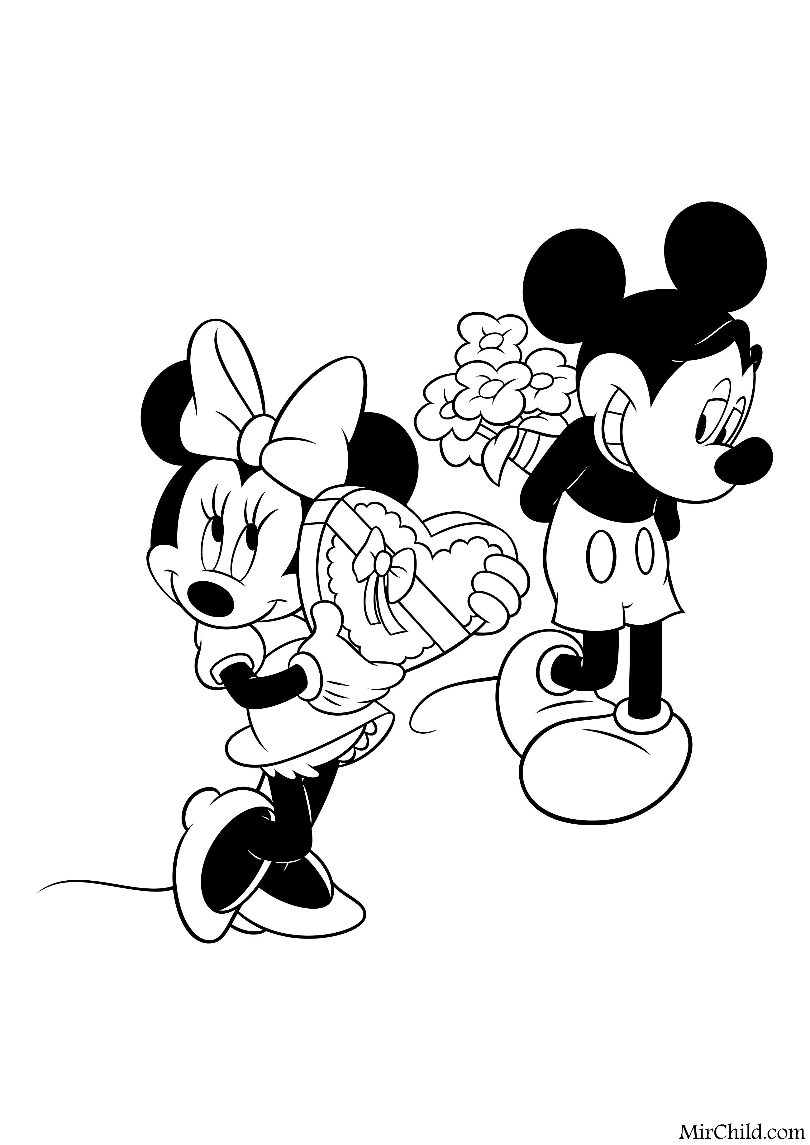 Раскраска - Микки Маус и друзья - День святого Валентина ...