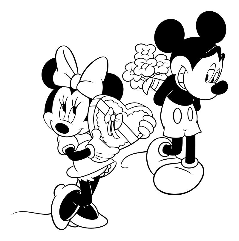 Раскраска - Микки Маус и друзья - День святого Валентина - Микки и Минни