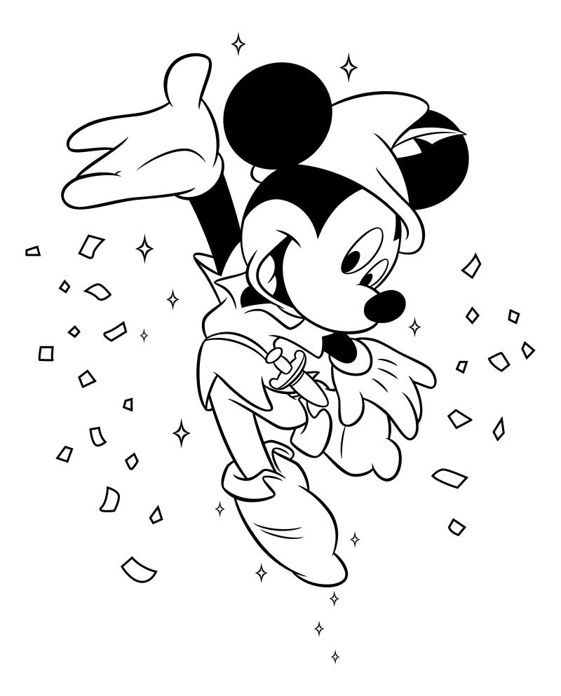 Раскраска - Микки Маус и друзья - Микки Маус в костюме Питера Пэна