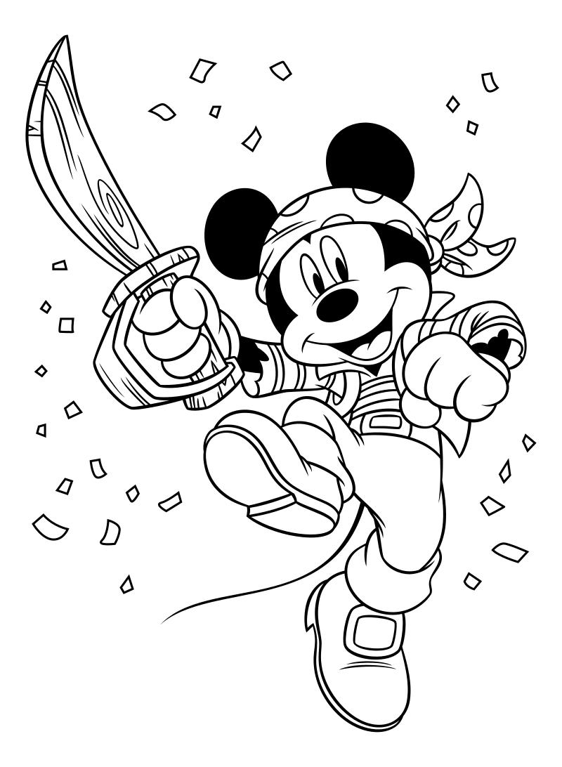 Раскраска - Микки Маус и друзья - Микки Маус в костюме пирата