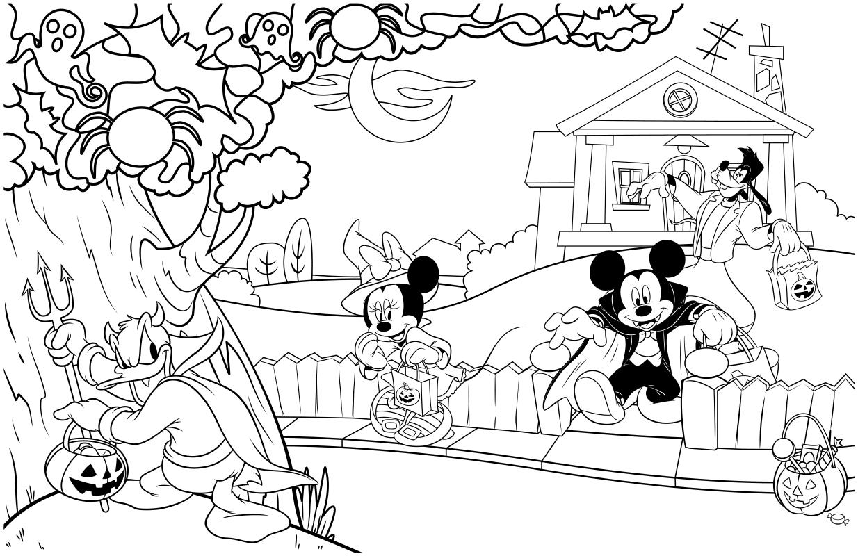 Раскраска - Микки Маус и друзья - Микки Маус и друзья на Хэллоуин