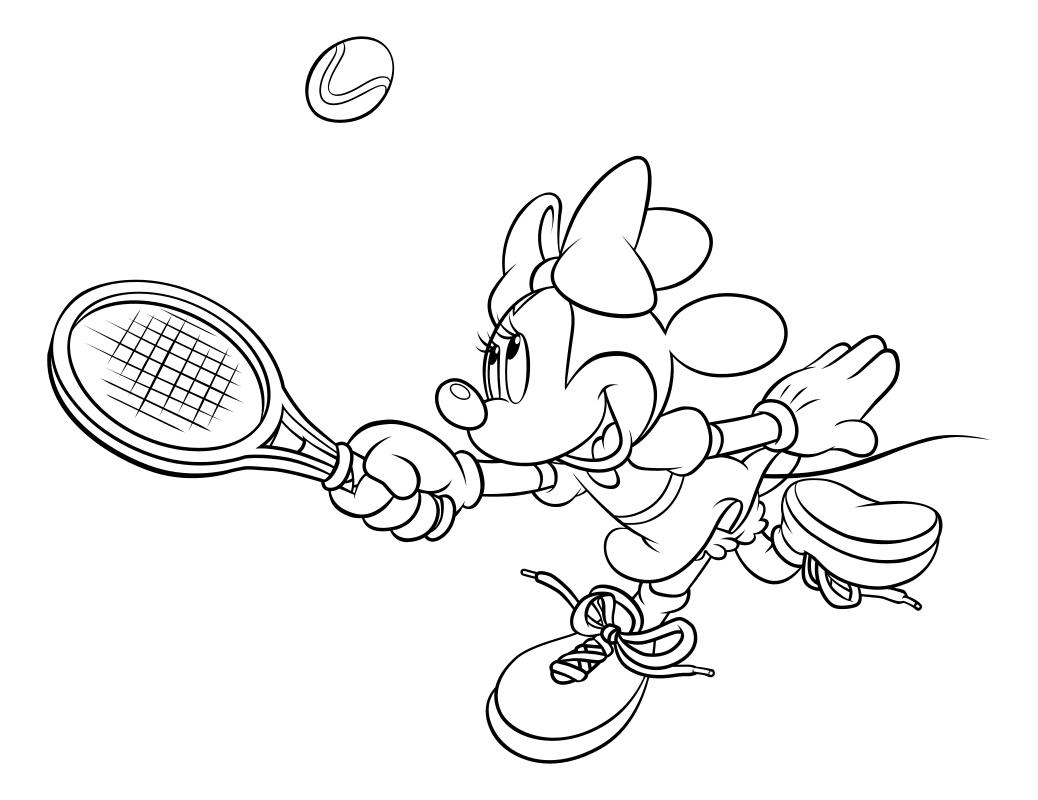 Раскраска - Микки Маус и друзья - Минни играет в теннис