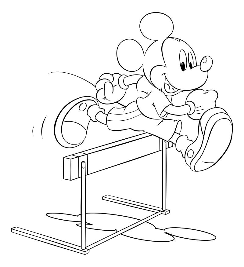 Раскраска - Микки Маус и друзья - Микки Маус - Бег с барьерами