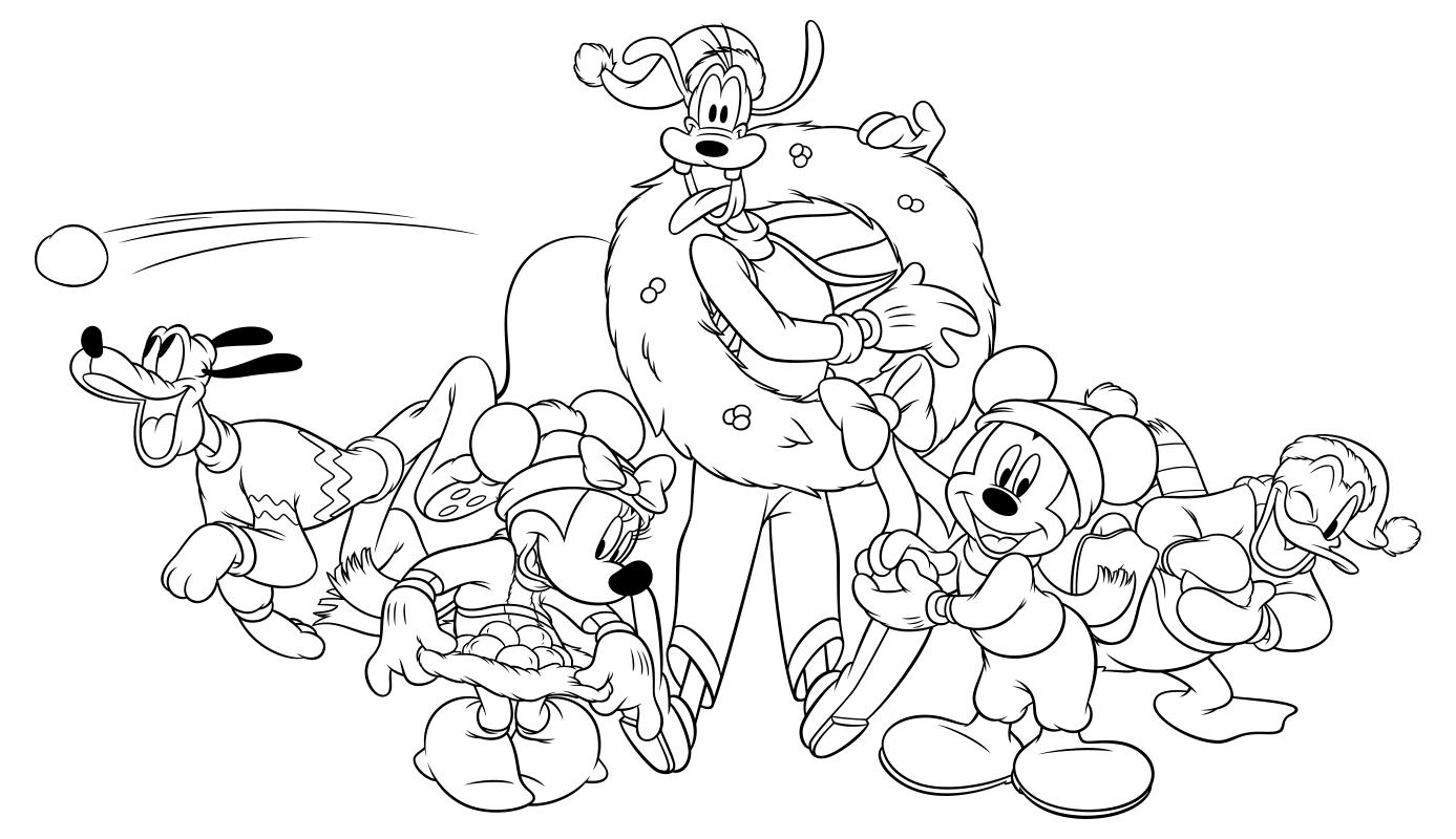 Раскраска - Микки Маус и друзья - Плуто, Минни, Гуфи, Микки и Дональд играют в снежки