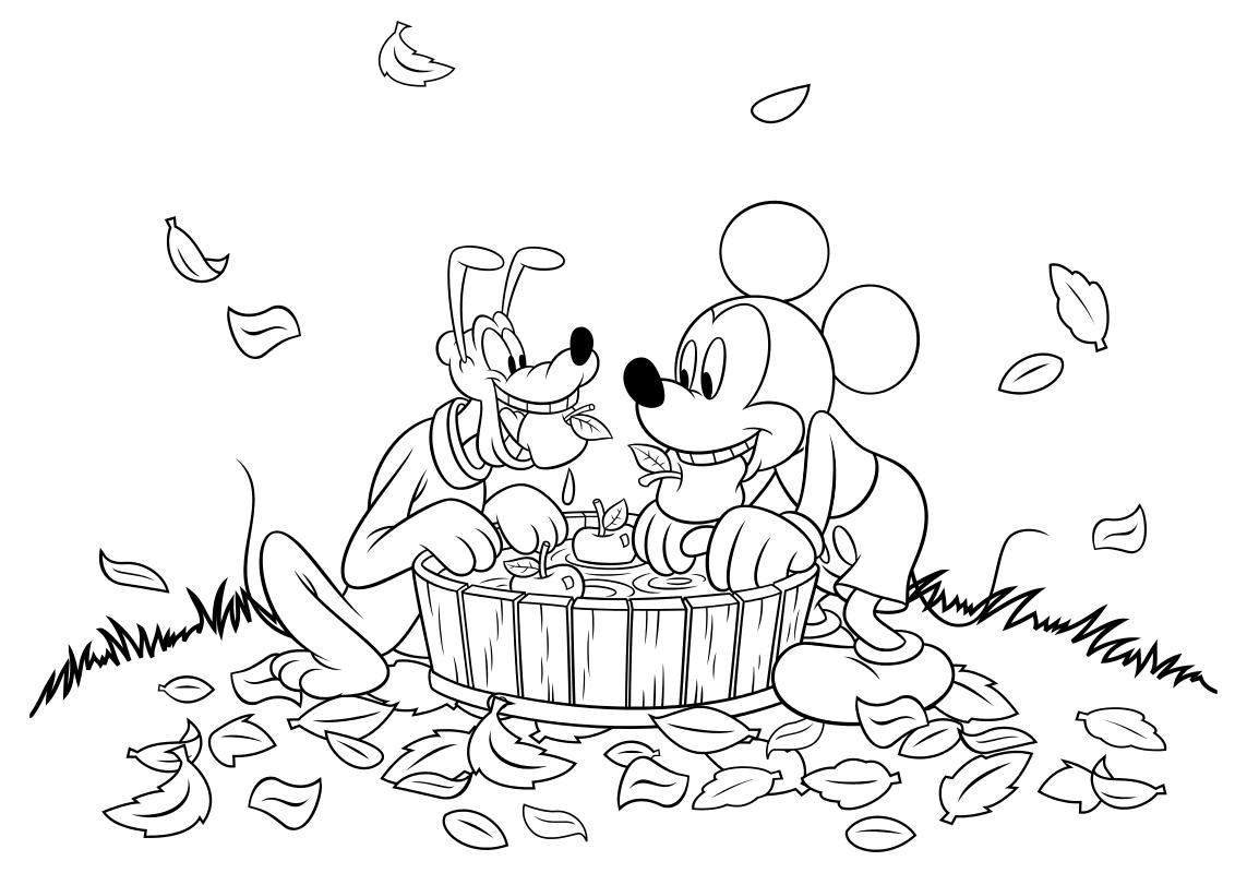 Раскраска - Микки Маус и друзья - Плуто и Микки достают яблоки из воды