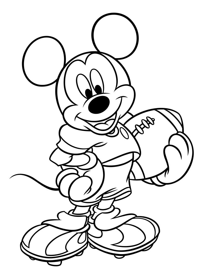 Раскраска - Микки Маус и друзья - Микки Маус - американский футболист