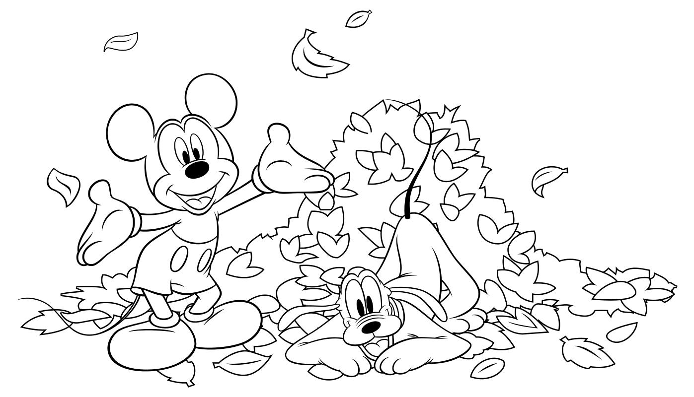 Раскраска - Микки Маус и друзья - Микки, Плуто и куча листьев