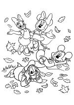 Раскраска - Микки Маус и друзья - Дейзи, Минни, Дональд и Микки