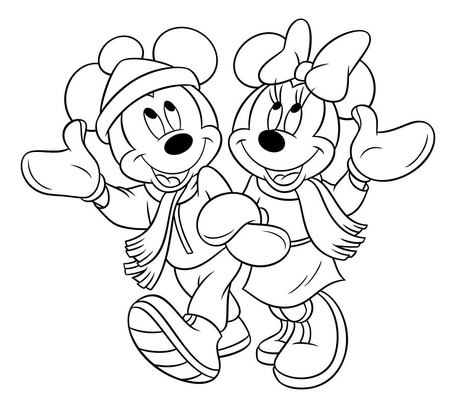 Раскраска - Микки Маус и друзья - Микки и Минни в зимней одежде