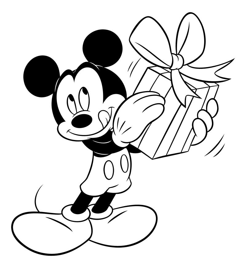 Раскраска - Микки Маус и друзья - Микки Маус с подарком
