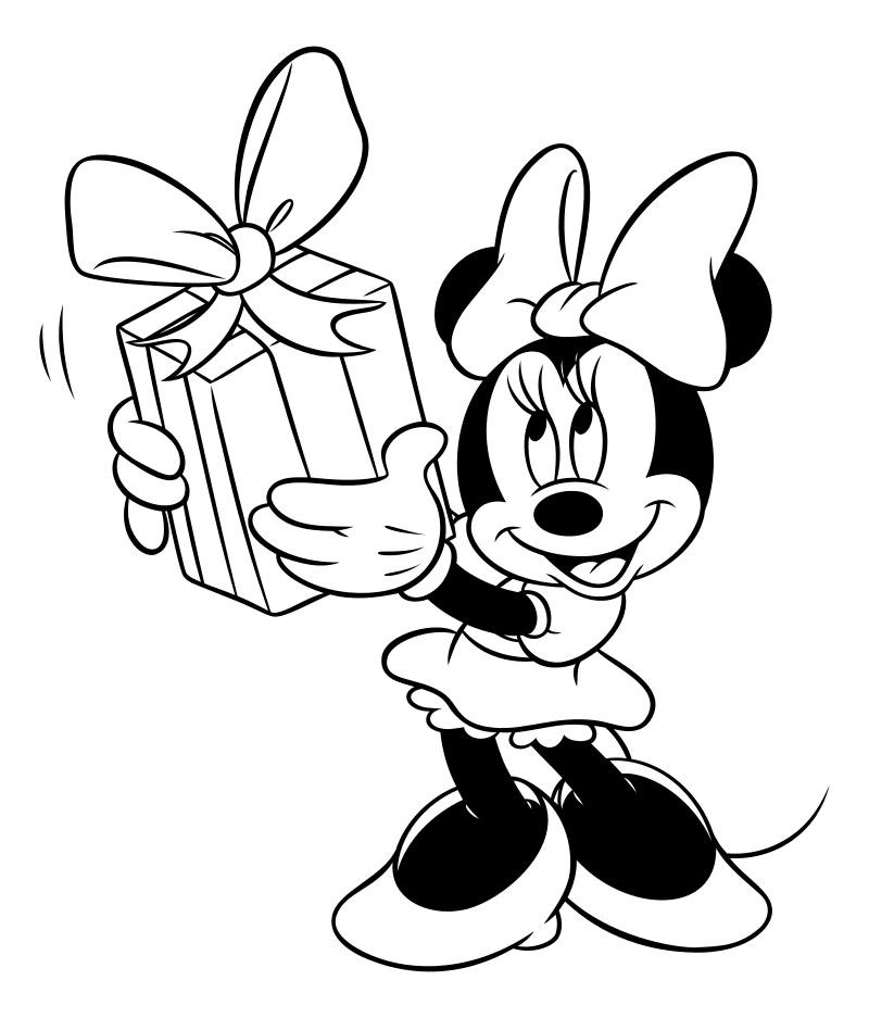 Раскраска - Микки Маус и друзья - Минни Маус с подарком