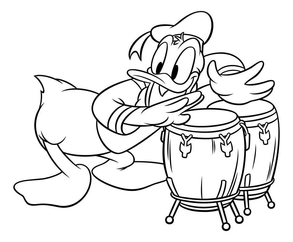 Раскраска - Микки Маус и друзья - Дональд Дак играет на барабанах