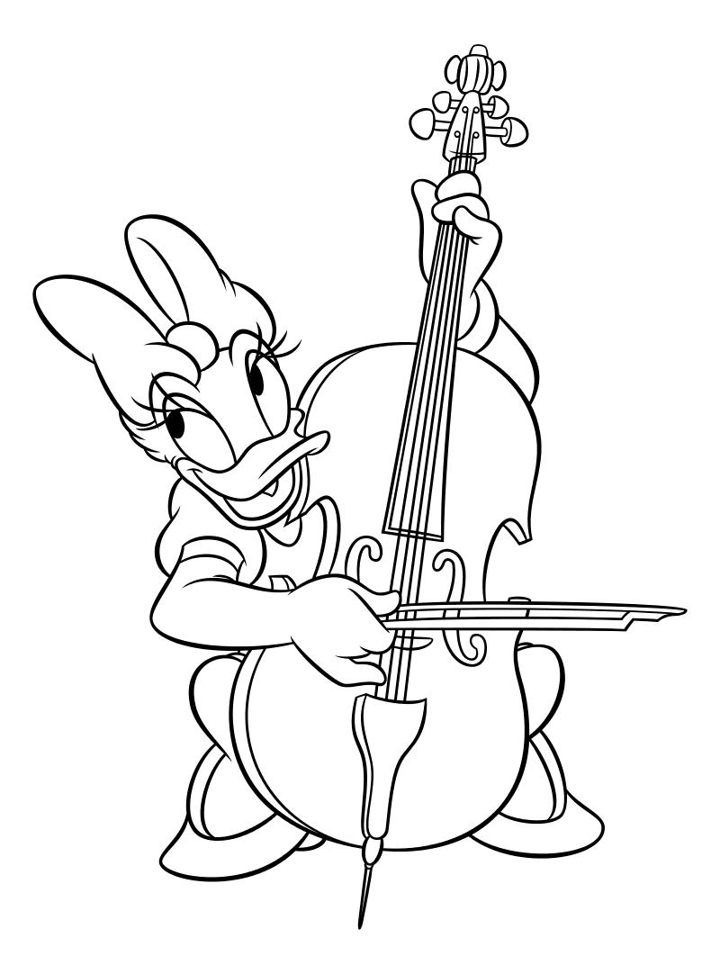 Раскраска - Микки Маус и друзья - Дейзи Дак играет на виолончели