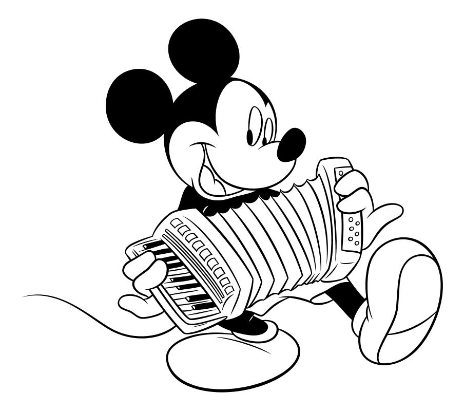 Раскраска - Микки Маус и друзья - Микки Маус играет на аккордеоне