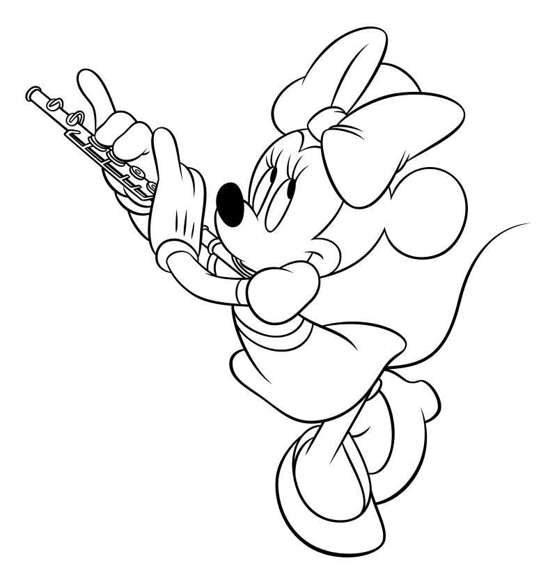 Раскраска - Микки Маус и друзья - Минни Маус играет на флейте