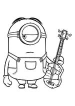 Раскраска - Миньоны - Миньон Стюарт с гитарой