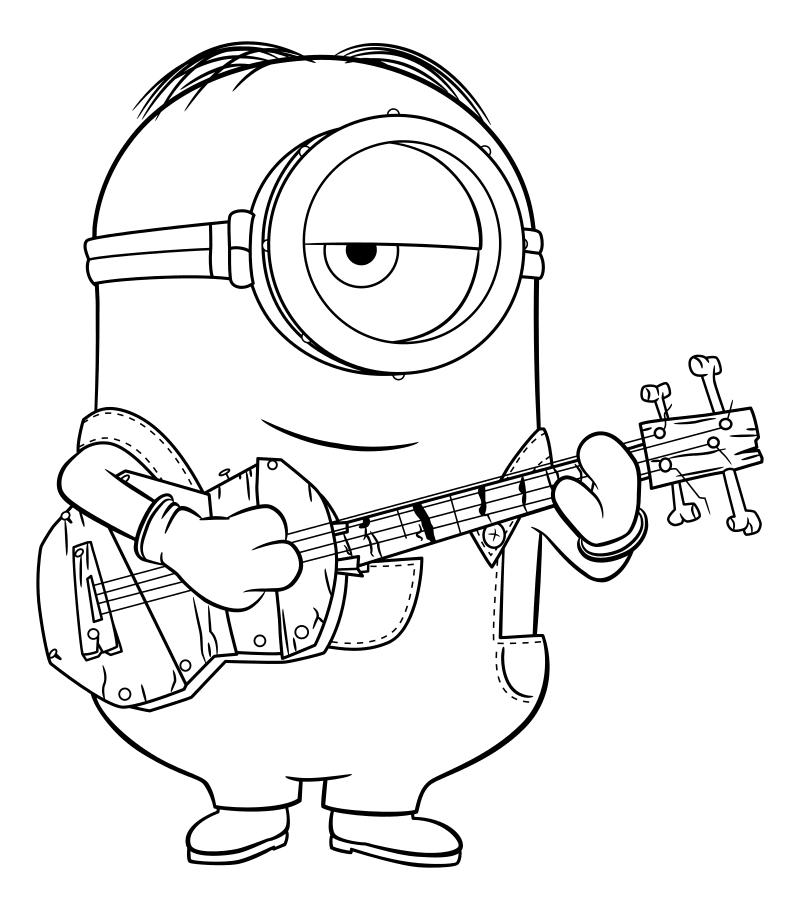 Раскраска - Миньоны - Миньон Стюарт играет на гитаре ...