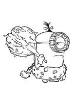 Раскраска - Миньоны - Первобытный Миньон с дубинкой