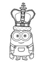 Раскраска - Миньоны - Миньон Боб - король