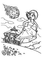 Раскраска - Монстры против пришельцев - Сюзан убегает от метеорита