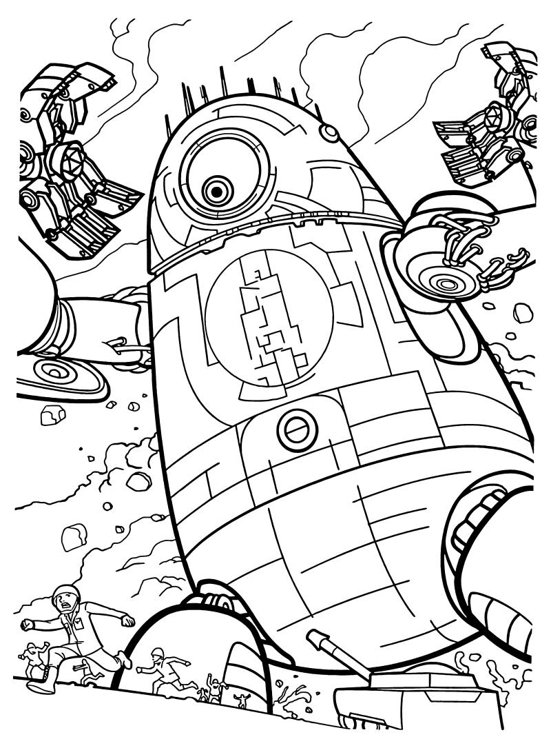 Раскраска - Монстры против пришельцев - Гигантский робот ...