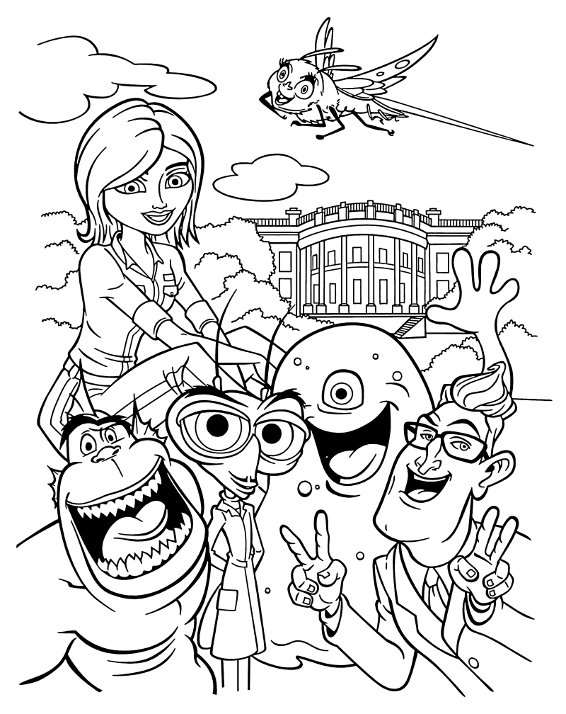 Раскраска - Монстры против пришельцев - Сюзан, монстры и президент Хэтэуэй