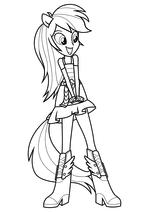 Раскраска - Мой маленький пони: Девочки из Эквестрии - Радуга Дэш танцует