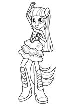 Раскраска - Мой маленький пони: Девочки из Эквестрии - Сумеречная Искорка танцует