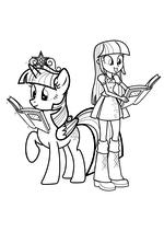 Раскраска - Мой маленький пони: Девочки из Эквестрии - Сумеречная Искорка пони и девочка
