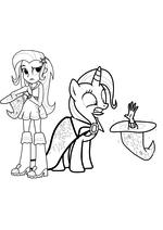 Раскраска - Мой маленький пони: Девочки из Эквестрии - Трикси пони и Трикси девочка